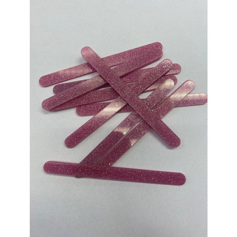 Acryl ijsstokjes glitter roze 10st-1