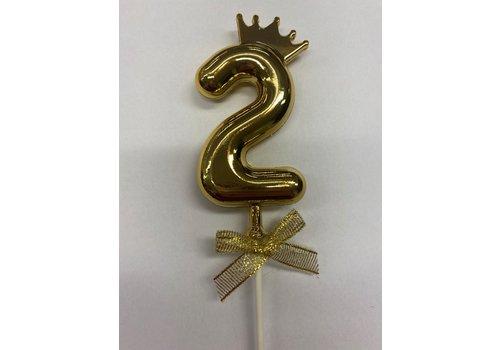 Cake topper ballon 2 goud