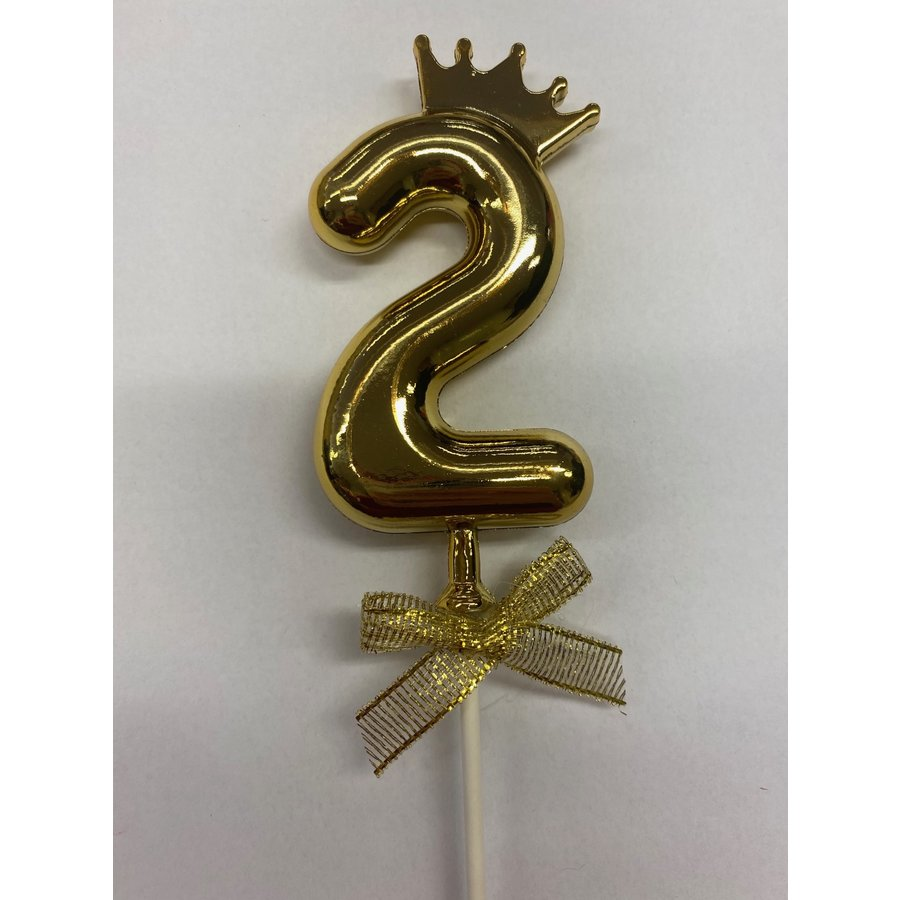 Cake topper ballon 2 goud-1