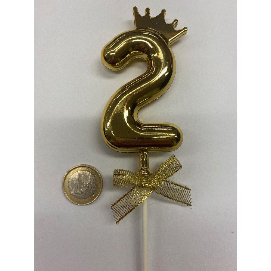 Cake topper ballon 2 goud-2