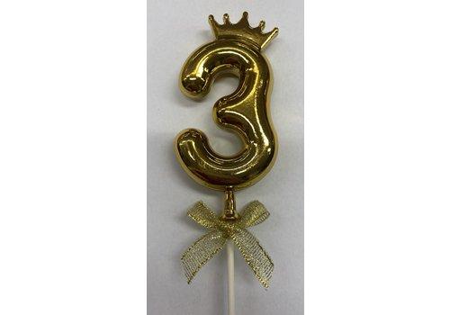 Cake topper ballon 3 goud