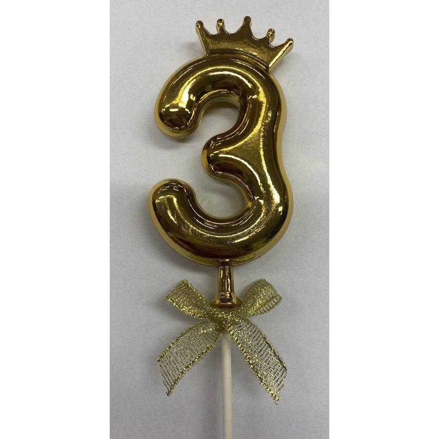 Cake topper ballon 3 goud-1
