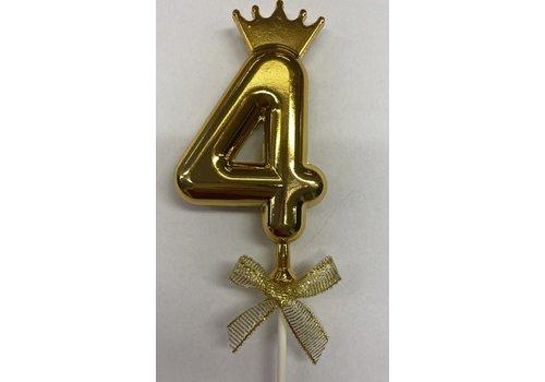 Cake topper ballon 4 goud