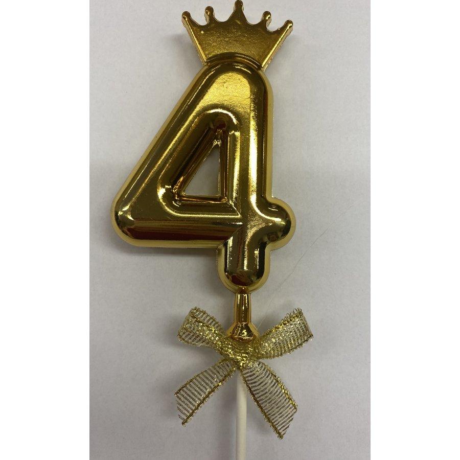 Cake topper ballon 4 goud-1