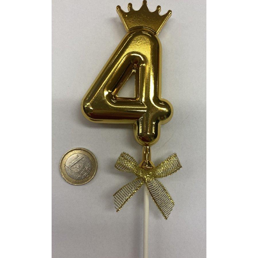 Cake topper ballon 4 goud-2