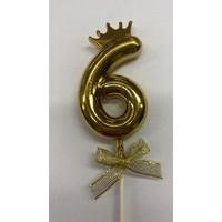 thumb-Cake topper ballon 6 goud-1