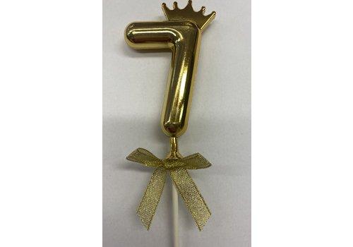 Cake topper ballon 7 goud