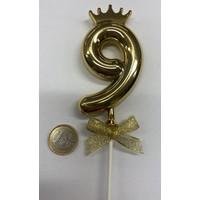 thumb-Cake topper ballon 9 goud-1