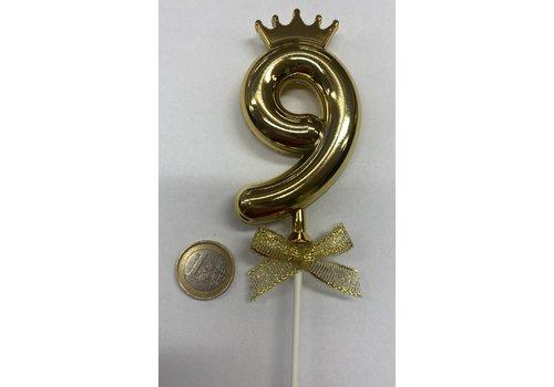 Cake topper ballon 9 goud