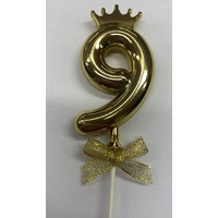 thumb-Cake topper ballon 9 goud-2