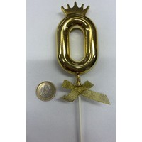 thumb-Cake topper ballon 0 goud-1