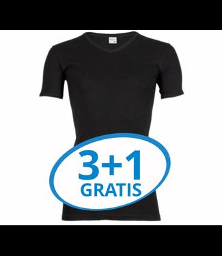 Beeren Heren V-Hals T-Shirt Extra Lang M3000 Zwart voordeelpack A