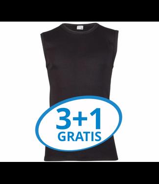 Beeren Heren Extra Lang Mouwloos Shirt Zwart Voordeelpack A