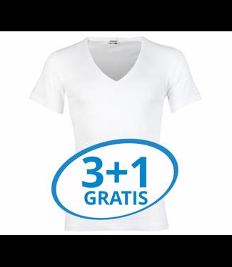 Beeren Heren Diepe V-Hals T-Shirt Extra Lang M3000 Wit voordeelpack A