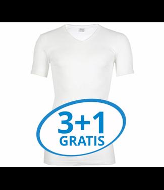 Beeren Heren V-Hals T-Shirt Extra Lang M3000 Wit voordeelpack A