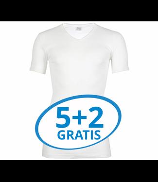 Beeren Heren V-Hals T-Shirt Extra Lang M3000 Wit voordeelpack B