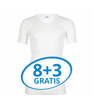 Beeren Heren V-Hals T-Shirt Extra Lang M3000 Wit voordeelpack C