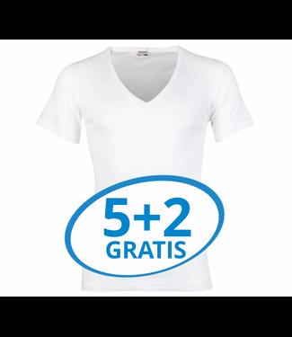 Beeren Heren Diepe V-Hals T-Shirt Extra Lang M3000 Wit voordeelpack B