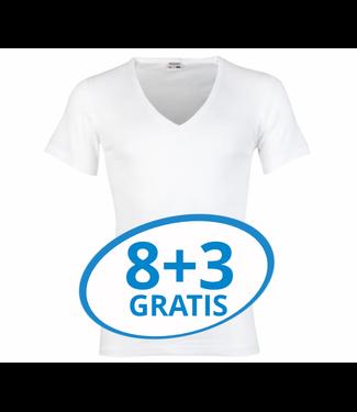 Beeren Heren Diepe V-Hals T-Shirt Extra Lang M3000 Wit voordeelpack C