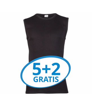 Beeren Heren Extra Lang Mouwloos Shirt Zwart Voordeelpack B