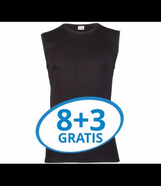 Beeren Heren Extra Lang Mouwloos Shirt Zwart Voordeelpack C