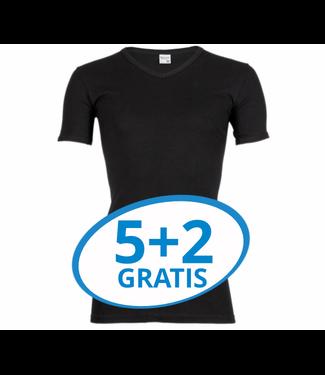 Beeren Heren V-Hals T-Shirt Extra Lang M3000 Zwart voordeelpack B
