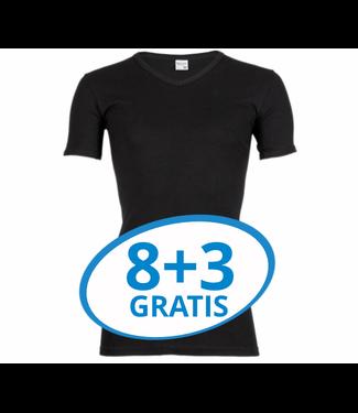 Beeren Heren V-Hals T-Shirt Extra Lang M3000 Zwart voordeelpack C