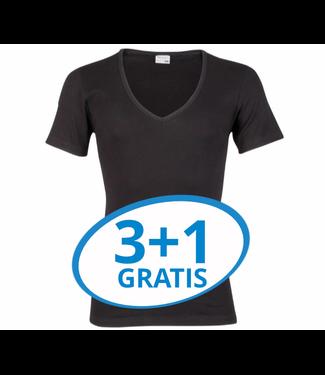 Beeren Heren Diepe V-Hals T-Shirt Extra Lang M3000 Zwart voordeelpack A