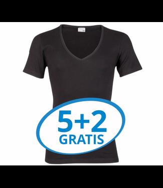 Beeren Heren Diepe V-Hals T-Shirt Extra Lang M3000 Zwart voordeelpack B