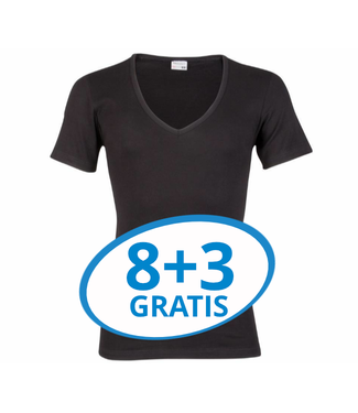 Beeren Heren Diepe V-Hals T-Shirt Extra Lang M3000 Zwart voordeelpack C