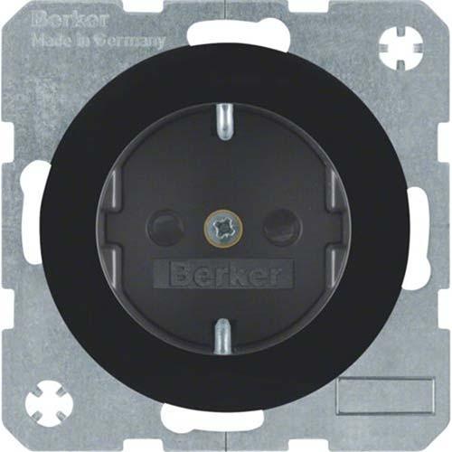 Berker wandcontactdoos randaarde kindveilig R1/R3 zwart (47232045)