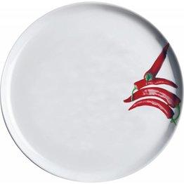 """Pizzateller weiß mit Dekor """"Peperoni"""" Ø 30 cm"""