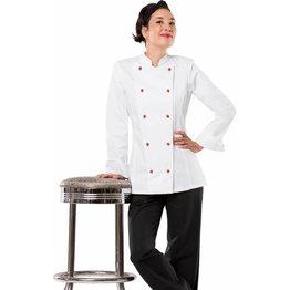 Kochjacke Damen, Kugelknöpfe, langarm Größe XL