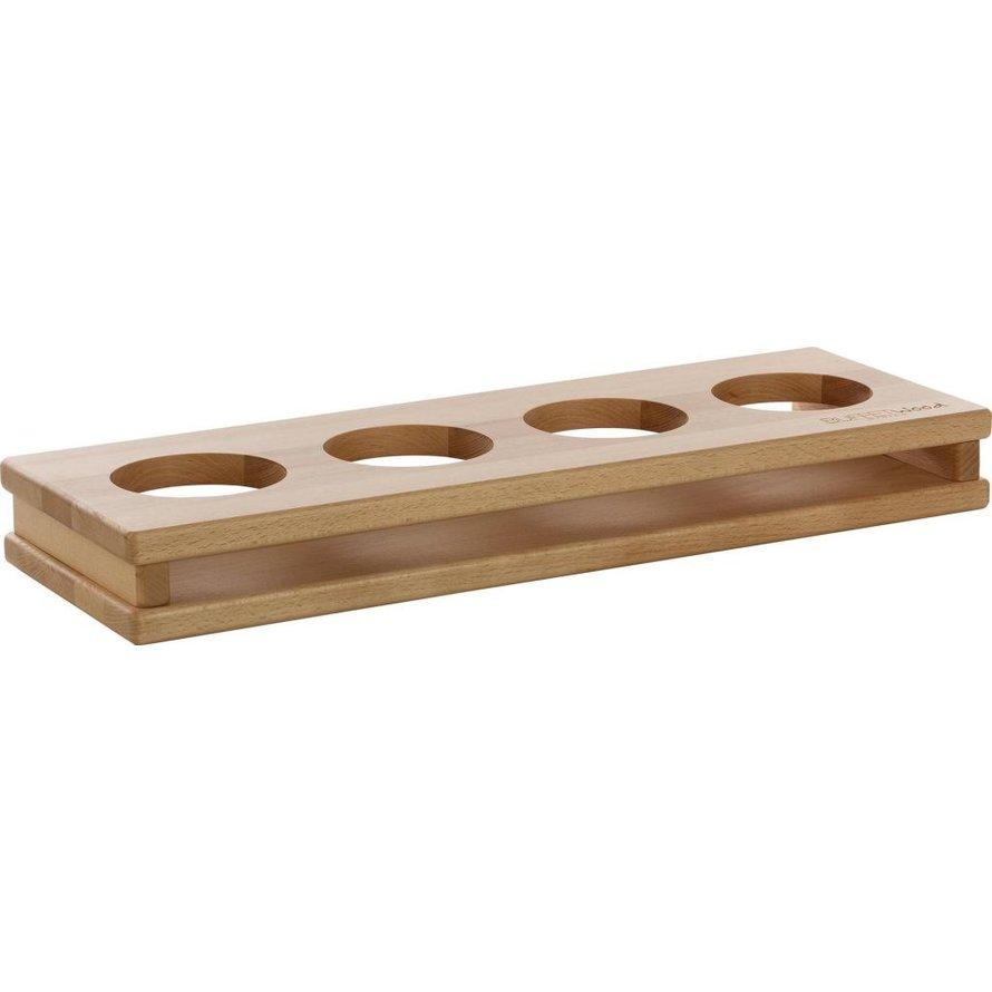 """Display """"Wood"""" 4 Aussparungen Ø 10cm"""