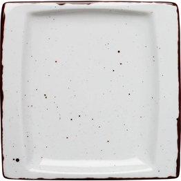 """Porzellanserie """"Granja"""" weiß Platte flach eckig, 18x18 cm"""