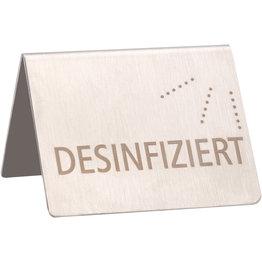 """Tischaufsteller """"Desinfiziert"""" - NEU"""