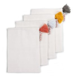 GANTS DE TOILETTE TETRA SET DE 4 BLANCS + POMPOMS