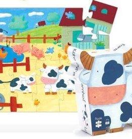 Puzzle silhouette - Les Vaches à la ferme ( 24pcs)