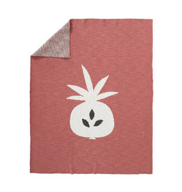 Couverture tricotee Pineapple ocher 80 x 100 cm
