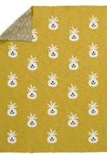 Couverture tricotee Pineapple mustard 80 x 100 cm
