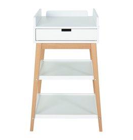 QUAX Table à langer HIP Blanc/Hêtre + tiroir