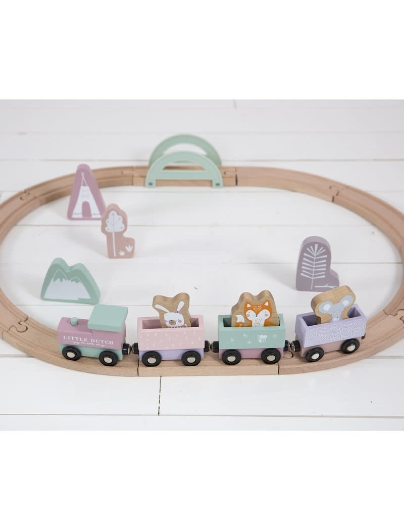Little Dutch Circuit train en bois adventure - pink