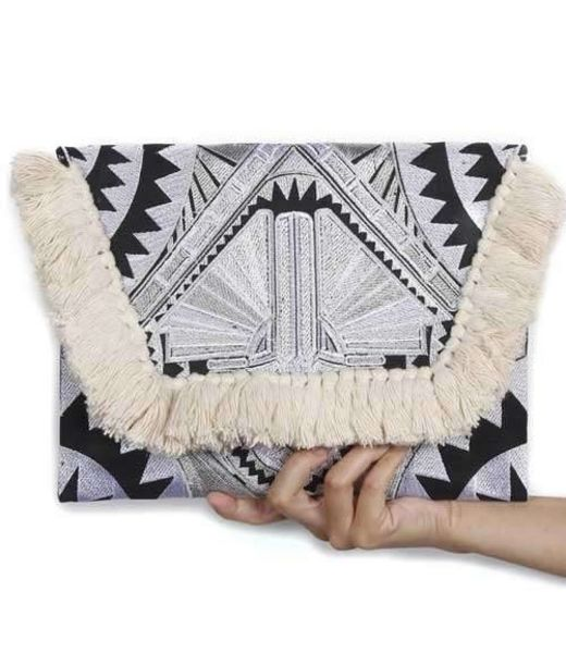Offbeat Boutique Kimmi Clutch Cream Tassels