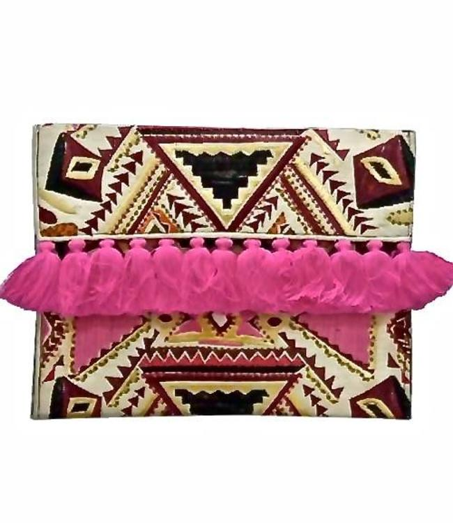 Offbeat Boutique Oversized Clutch Arvoriot Hot Pink Tassel