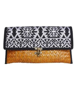 Offbeat Boutique Straw Clutch Aztec Black