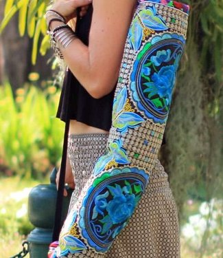 Offbeat Boutique Yoga Mat Carrier Blue Rose