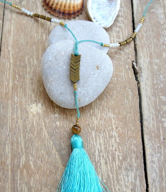 Hippy Chick Ematite Arrow Necklace Aqua