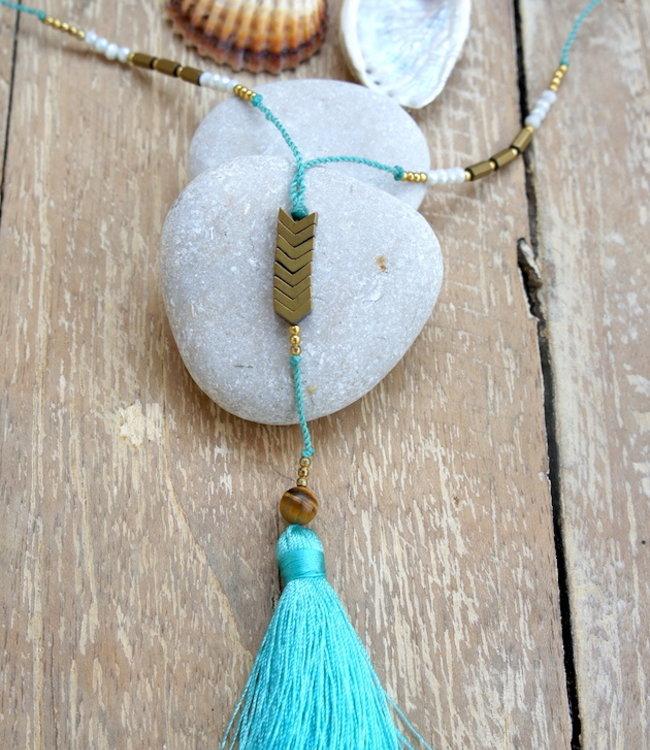 Hippy Chick Ematite Arrow Necklace Aqua