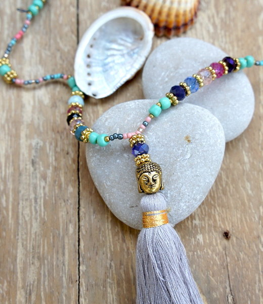 Hippy Chick Mini Budha Mix Crystal Collana con Nappa