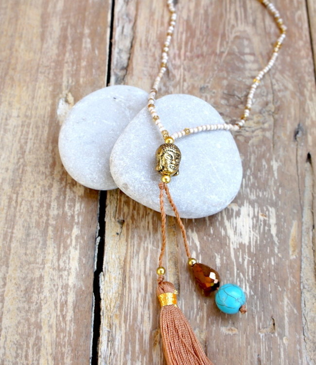 Hippy Chick Budha Mini Necklace Gold